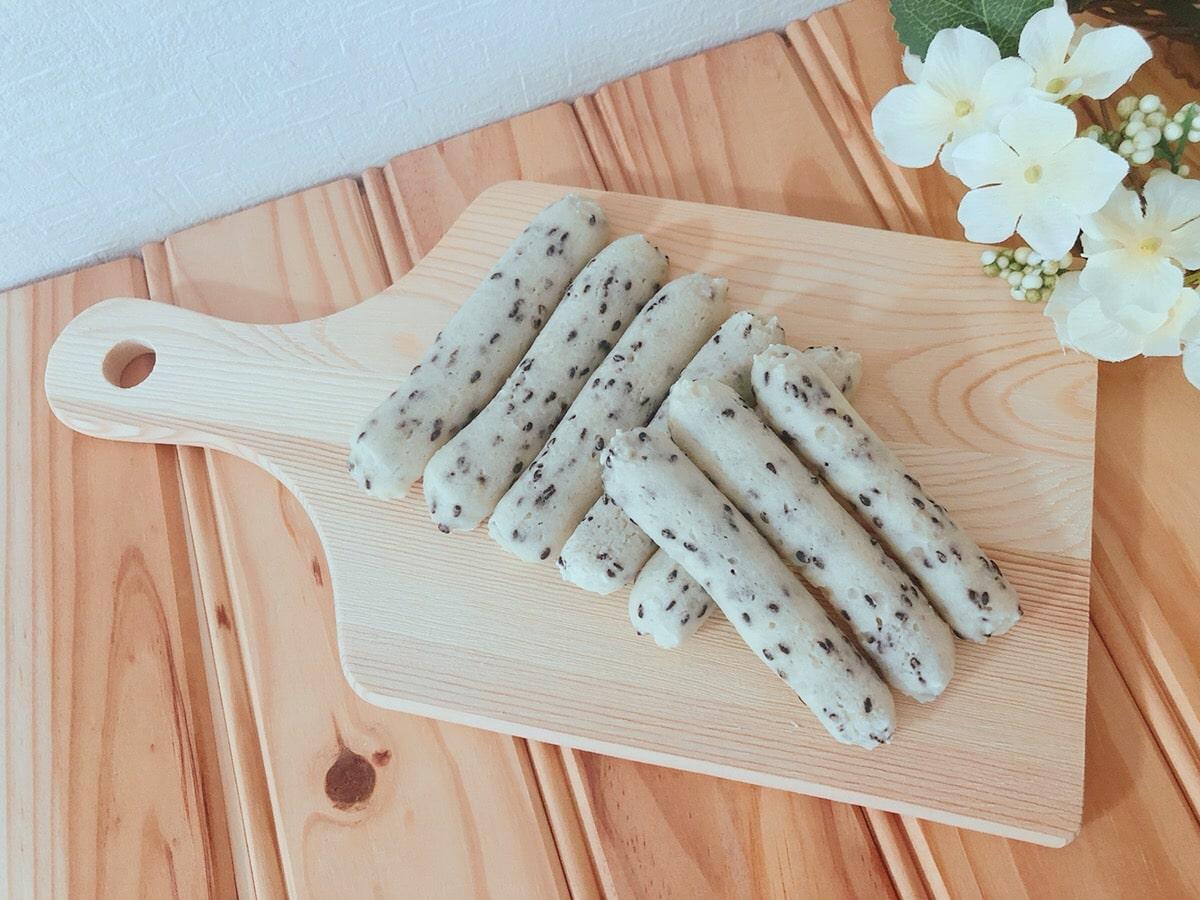 豆腐と米粉で簡単♪ごまスティックパン 油・砂糖・卵・乳製品・小麦粉不使用 ポービリア