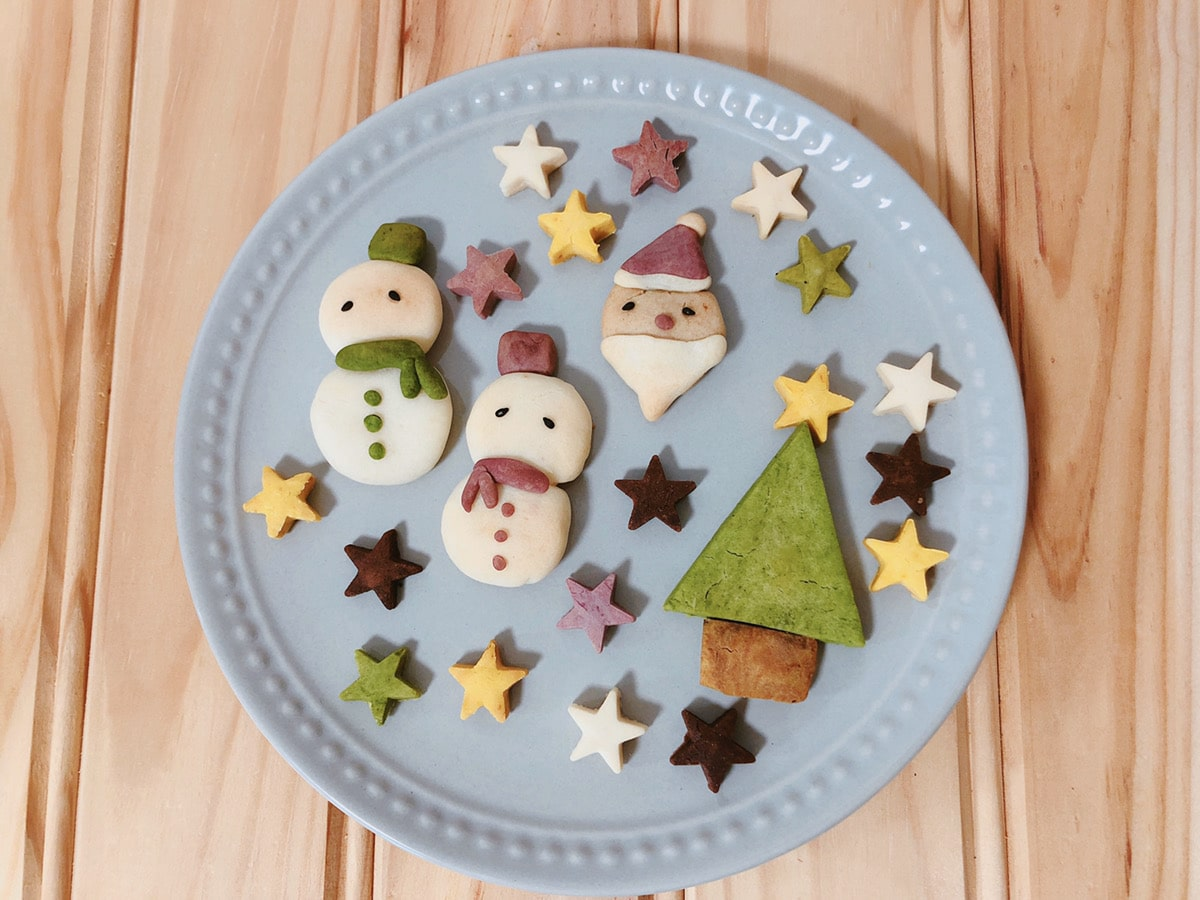 簡単クリスマスクッキー ツリークッキー サンタクッキー 雪だるまクッキー クッキー型なし