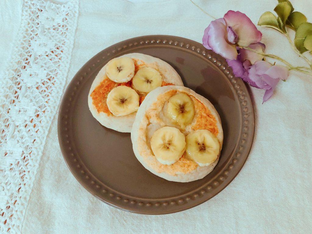 米粉バナナパンケーキ 卵なし 牛乳なし 砂糖なし 油なし テフロン加工 ホットケーキミックスなし 簡単幼児食レシピ 離乳食レシピ