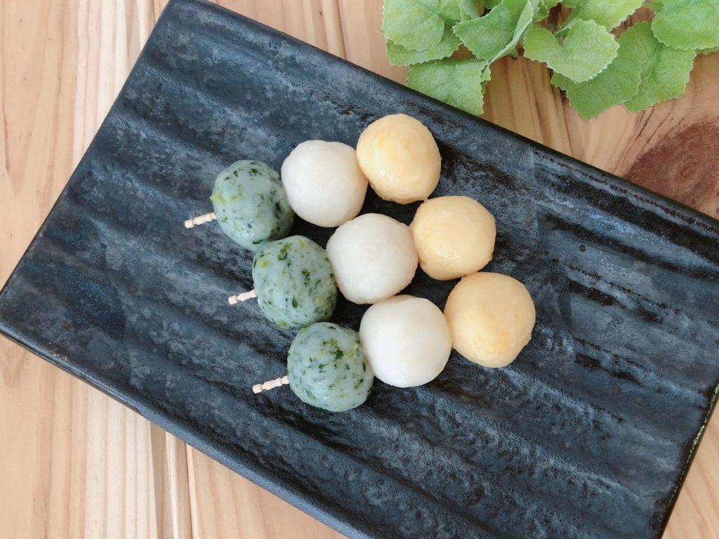 野菜三色団子 豆腐三色団子 米粉三色団子 簡単 野菜嫌い 幼児食 野菜スイーツ