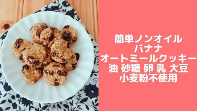 バナナ オートミールクッキー レシピ 砂糖なし 卵なし 油なし 小麦粉なし 簡単