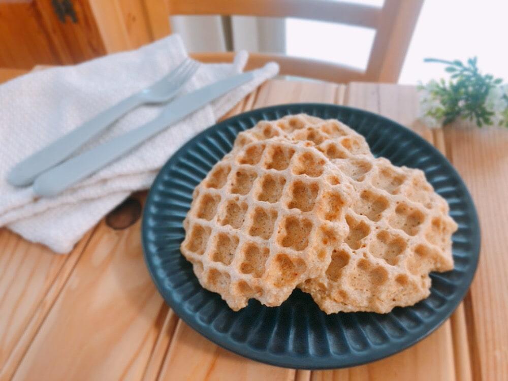 オートミールワッフル レシピ 卵なし 小麦粉なし バターなし 簡単 幼児食