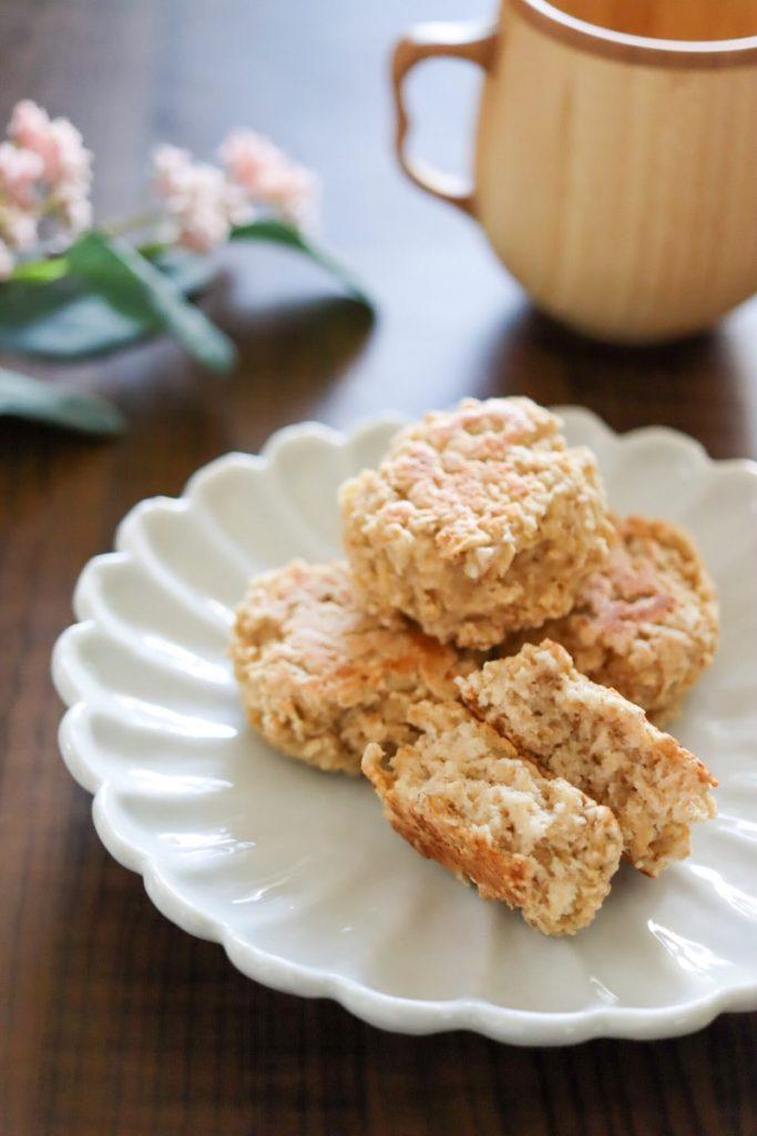 フライパン スコーン オートミール おからパウダー バターなし 卵なし 小麦粉なし