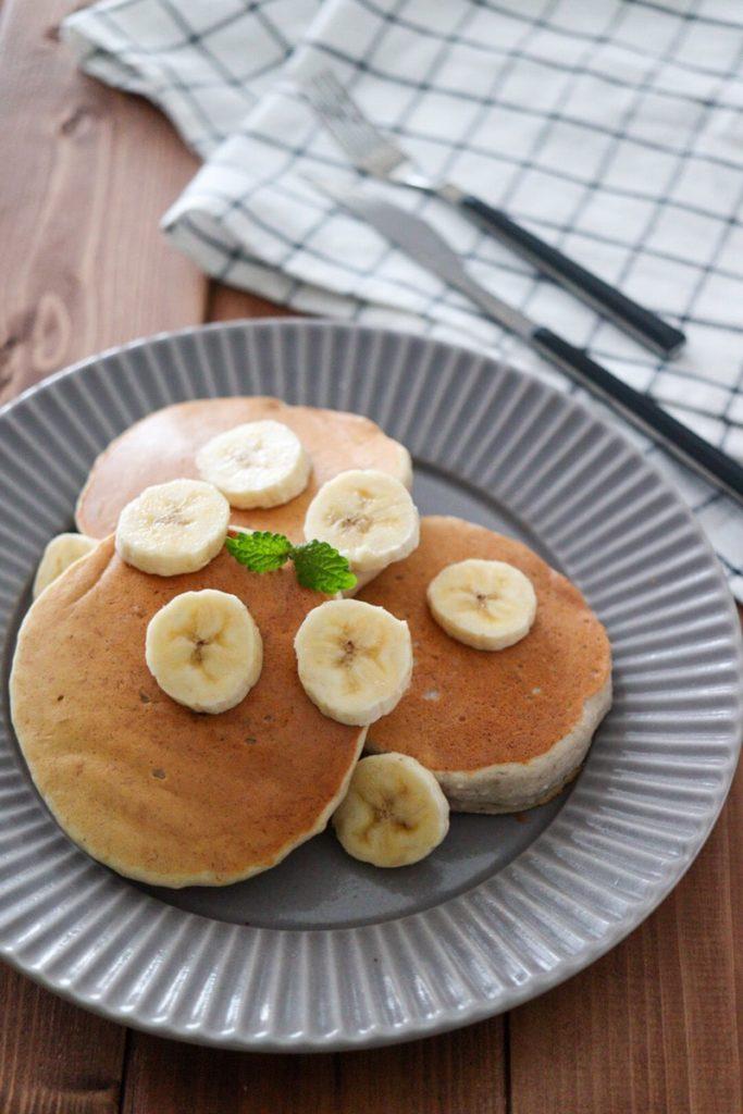 米粉 バナナ パンケーキ 卵なし 牛乳なし 砂糖なし 油なし テフロン加工 ホットケーキミックスなし 簡単 幼児食 離乳食 レシピ
