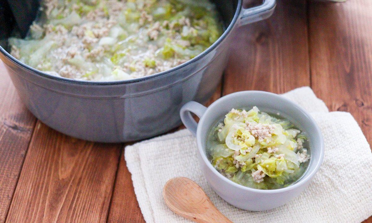 白菜 豚ひき肉 塩スープ コンソメなし 子ども 野菜嫌い