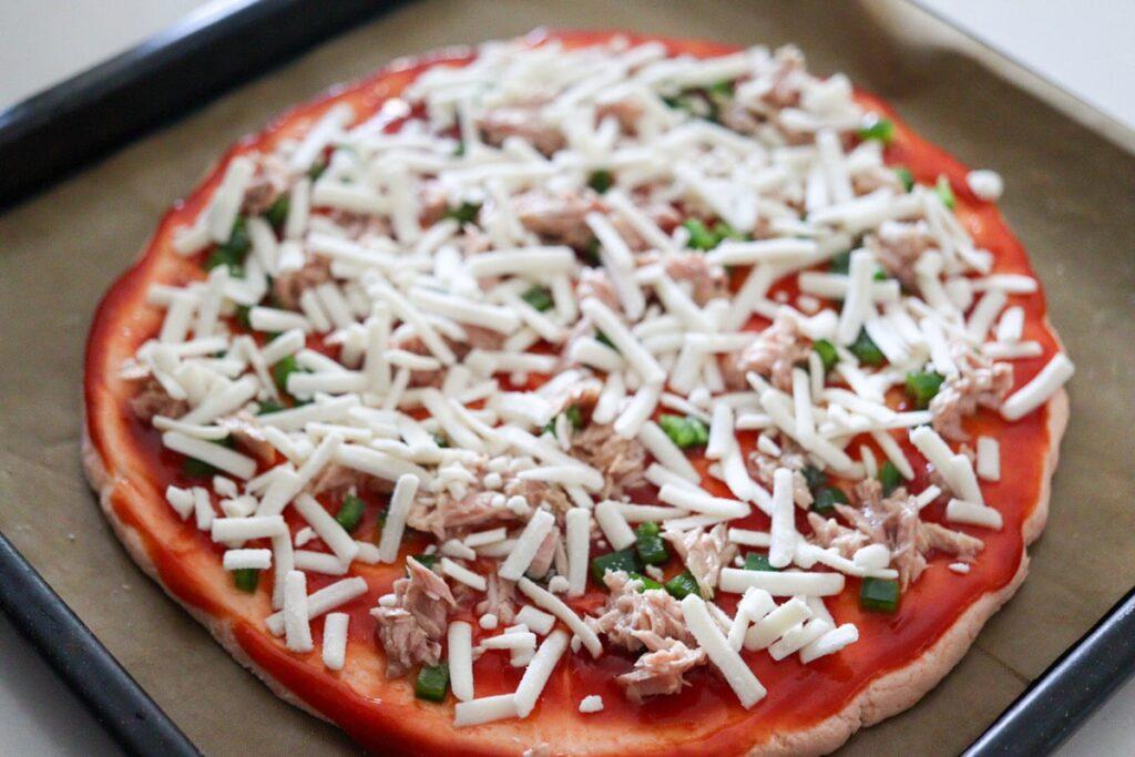 野菜ピザ 子供 ピザ 幼児食 レシピ 作り方 豆乳シュレッド