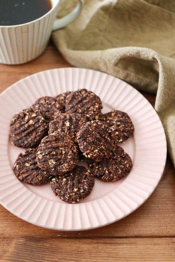 ココア オートミールクッキー バターなし 油なし 卵なし レシピ 簡単