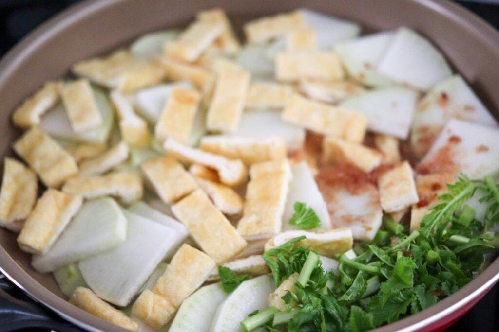 フライパン 大根 煮物 炊いたん 油揚げ 大根の葉 レシピ