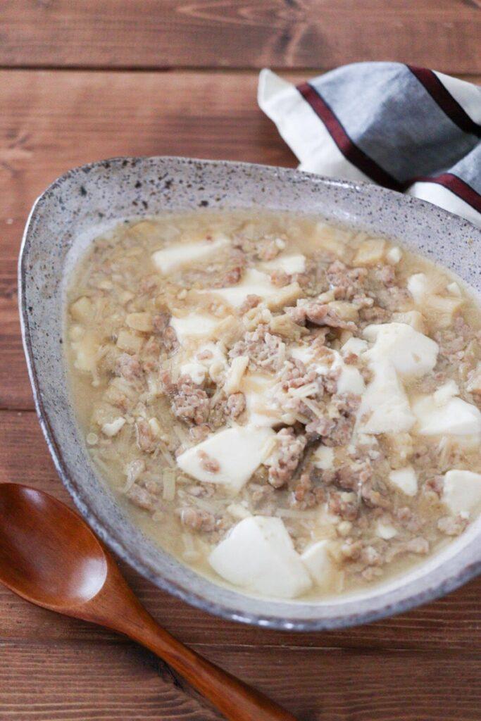 麻婆豆腐 片栗粉なし えのき 味噌 子供 レシピ ダイエット